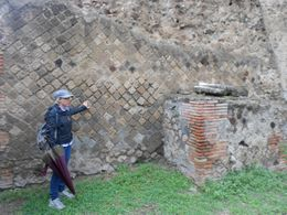 Our guide explaining how they began to build using diagonal patterns in order to mitigate earthquake damage. , Michael D - October 2012