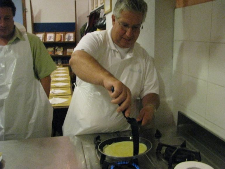 Dad making his crepe - Florence