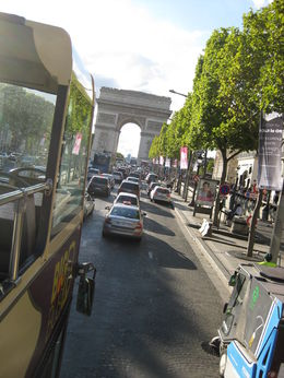 On the bus, heading toward the Arc d' Triomphe , David C - September 2015