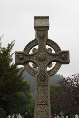 Celtic cross in cemetery at monastery , Timothy P - August 2013