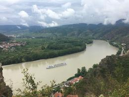 Danube view from Durnstein Castle Ruins you can climb up here - 20 mins , Chris V - August 2017