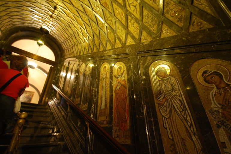Detailed Glimpse of Montserrat's Basilica Stairwell - Barcelona