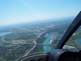 Right over the Niagara River, minutes before we approached the falls. I was right next to the pilot...right in the front seat., Arundeep M - June 2008
