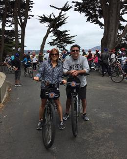 Mary and David starting the Golden Gate Bridge to Sausalito Bike Tour , Mary S - May 2017