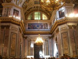 A picture of the interior of St. Isaac's Cathedral. What's ironic is that it was designed and built for the dynasty that helped defeat Napoleon, by one of Napoleon's troops. , John L S - July 2014
