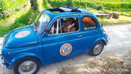 Gillian in her blue Fiat500 vintage car after beautiful wine tour , ANTHONY S - October 2014