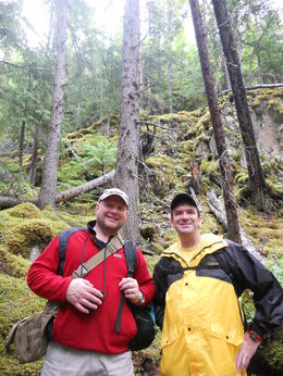 Jim and Joey pause along the Chilkoot Trail in the Goldrush National Forest. , Darlyn B - July 2014