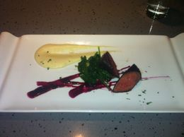 Venison with English Spinach, Parsnip Puree and Blueberry Sauce , JennyC - March 2011