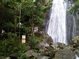 Part of our family enjoying an 'up close and personal' view of one of the waterfalls in El Yunque - March 2010