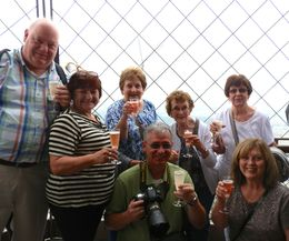 Part of St. John de LaSalle Travel Club in Niagara Falls - drinking champagne at the top of the Eiffel Tower. You haven't lived until you have done this. in the picture - Scott and Linda Fiske, ... , terrylou - September 2014