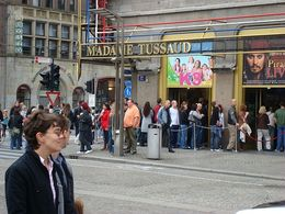 The long lines to get into Madame Tussaud in Amsterdam. I was thrilled that I pre-booked a skip the line entrance ticket, we walked straight past the queue! - June 2008