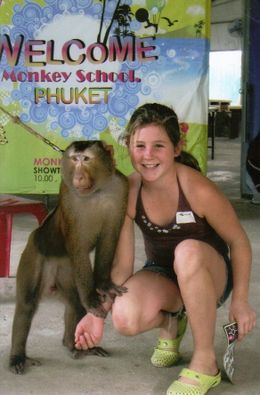 Eliza and the very cute Deth (Eliza is the cute girl and Deth is the cute monkey)! The monkey school was very entertaining., Peter M - July 2009