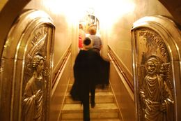 Who could not feel moved by the power of these regal doors and the brilliant display of light capturing the hues in the marble stairs?, Theresanne S - July 2009