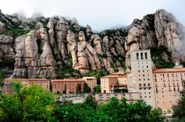 Monserrat Monastery near Barcelona,encircled with fog - June 2011