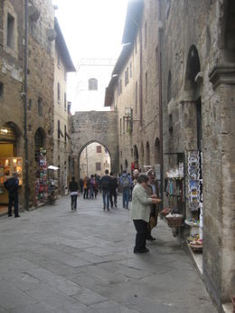 San Gimignano typical street nice shops. , Marina C - April 2012