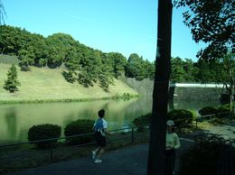 Joggers on border of external mote of Imperial Palace. - November 2007