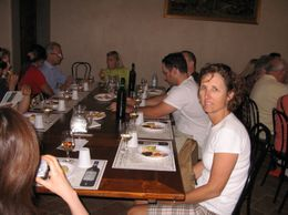 After the tour, we tasted 3 different wines, had prosciutto, cheese and olive oil with biscotti - October 2009