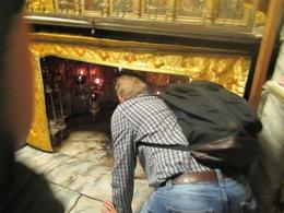 Touching the spot that is said to be the birth spot of Jesus Not on tour , Clyde C - October 2017