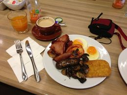 Having an Australian breakfast with all the options in the Green Room of the Sydney Opera House , James Fong - August 2013