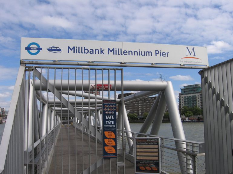 Millbank Pier on the Thames River - London