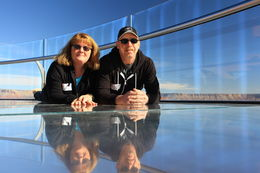 Marcel and Kathy R. Laying down on the Skywalk. So much fun. , Kathryn R - January 2014