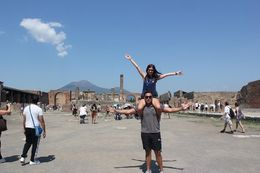 My fiance and I in the main square of Pompeii, with Mt Vesuvius in the background. , Narelle K - September 2015