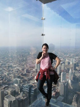 Here, I'm enjoying the beautiful scenes from the Willis/Sears tower on a most gorgeous clear day in Chicago. It was delightful and I had a blast! , Kendra B - February 2013