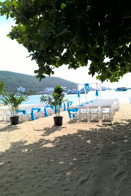 This is a picture of the scenery set up for my niece's wedding on a public beach in Ocho Rios, Jamaica. A perfect setting for a sunset ceremony. , mar_segree - July 2016