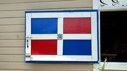 This lovely painted window shutter caught my eye at the plantation. , Allan - September 2015