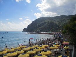 Monterosso beach was filled with people so we opted to skip the water activity. , C.J. R - August 2014
