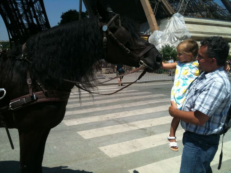 Horse and Daughter Share a Moment. - Paris