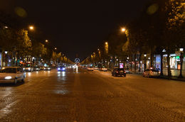 The Champs Élysées lit up at night, all the way to Place de la Concorde. - January 2014