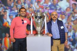 Me and my son standing with the latest European Cup won by Real Madrid , yunasm - June 2016