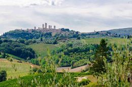 Lunch at Tuscany farm with back ground San Gimignano , Alex - September 2014