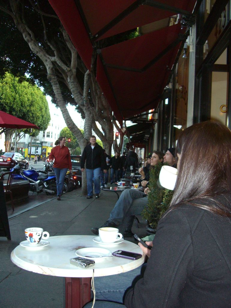 Typical street scene, Caffe Greco, North Beach - San Francisco