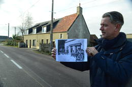 Mike with the Life Magazine photo of the purchased French farmhouse , vabandit - December 2016