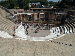 Pompeii part of the tour. Amphitheater is in great condition. From the and quot;cheap seats and quot; at the top I could easily hear conversations from the stage. , Papa Harold - July 2013