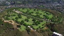 The view of Punchbowl National Cemetery from the Oahu Helicopter Tour - July 2011