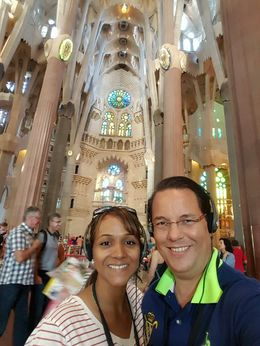 My husband and I enjoying the insides of Sagrada Familia Temple with our tour guide, Vicens! , Alba H - September 2015