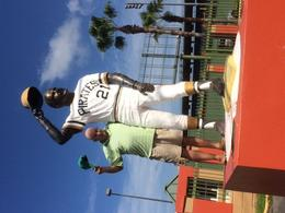 Standing with a statue of PR's greatest baseball player- Roberto Clemente. , Martin S - December 2016