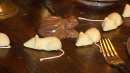The chocolate frogs and mice on display on the table in The Goblet of Fire. , Gina T - March 2017