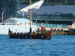A viking ship going around the harbor , Lindly O - July 2017