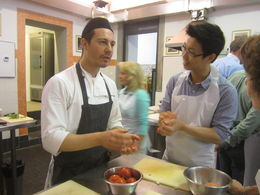Francesco explaining to Alex how to form meatloaf. , William W - July 2015