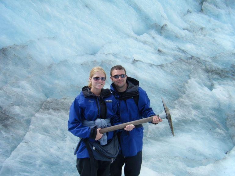 holding the pick axe - Franz Josef & Fox Glacier