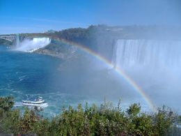 Standing on pathway looking down at the falls on the American side with rainbow. Beautiful! - November 2011