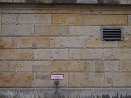 Bullet holes from WWII, Rachel - November 2013