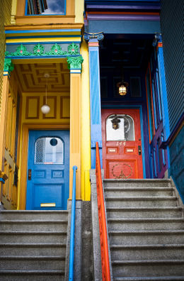 Painted Victorian Doorways in Haight-Ashbury neighborhood, San Francisco - April 2011