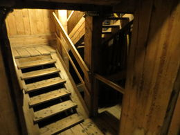 It's a brisk walk DOWN 135 meters (.8 of a mile) to the bottom of the salt mine via wooden stairs , Patricia - February 2015