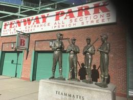 Fenway Park Statue of Ted Williams, Don DiMaggio and Carl Yastr , Kathryn B - November 2017