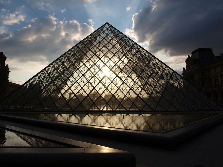 Louvre Pyramid at Sundown - Paris
